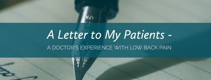 A Doctor's Experience with Low Back Pain